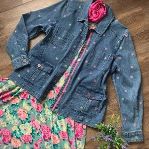 Cute Denim Jacket with Embroidered Butterflies!!